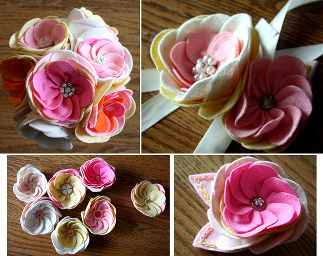 Girly-pink-light-pink-yellow-white-felt-button-bridal-bouquets-corsages-flowers-eco-friendly.full