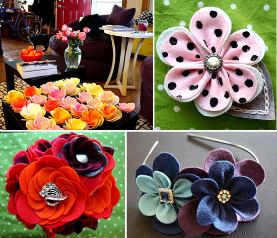 Adorable felt corsages- an eco-friendly alternative to fresh wedding flowers