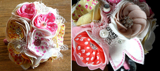 Whimsical felt bridal bouquet with pink and white polka dots, rhinestones and netting