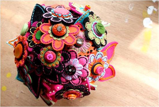 Vibrant and funky bridal bouquet made from eco-friendly felt!