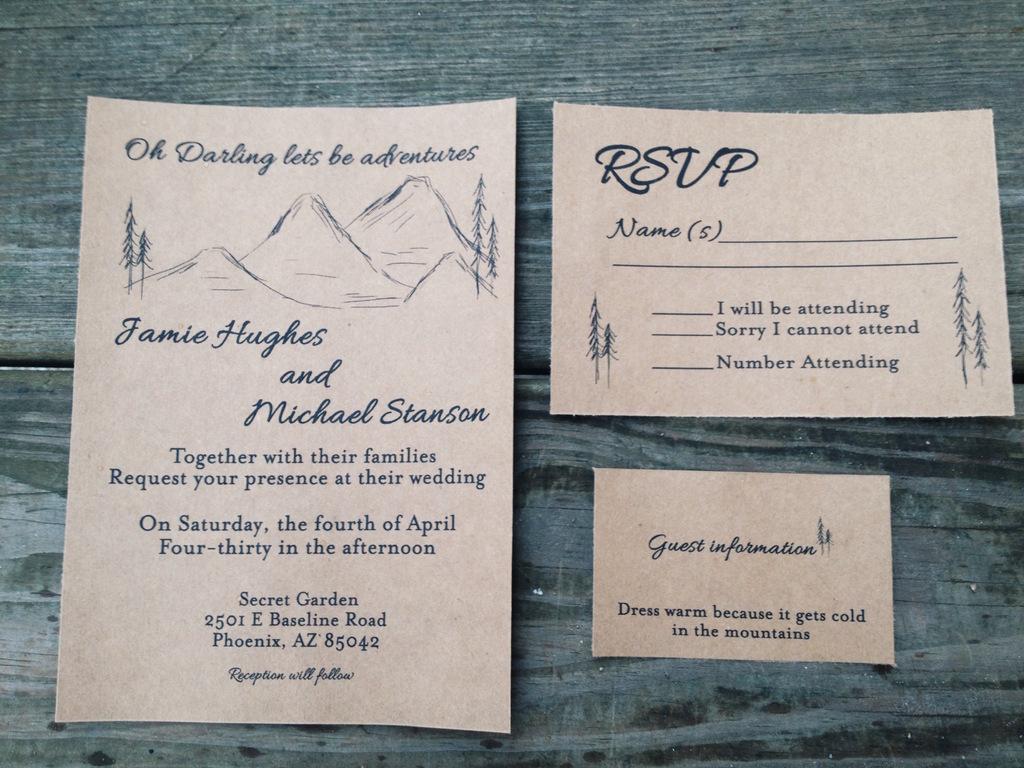 Mountain Range Wedding Invitation on Kraft