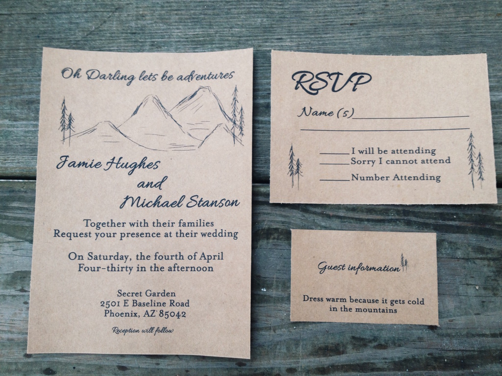 Rustic Mountain Range Wedding Invitation on Kraft