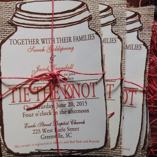 Rustic Coral Mason Jar wedding invitation with natural burlap