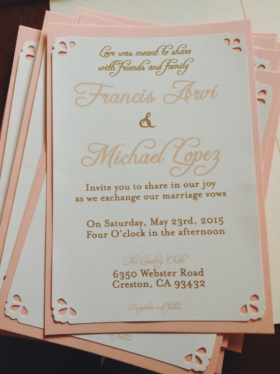 Peach and Brass Wedding Invitation