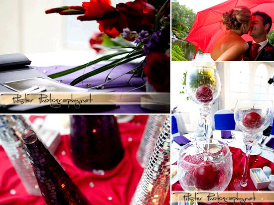 Gorgeous red, purple and royal blue wedding reception tablescapes