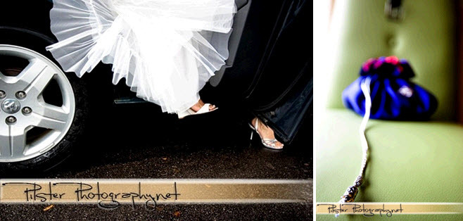 Bride-steps-out-of-car-in-white-wedding-dress-open-toe-white-bridal-heels-tulle-royal-blue-purple-red-clutch.full
