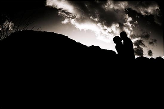 Artistic black and white pre-wedding photo at Red Rock Canyon, Nevada