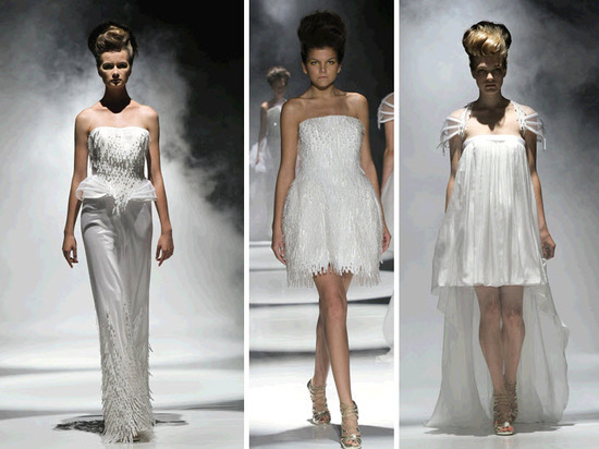 Modern and futuristic, these David Fielden wedding dresses are sure to make a statement