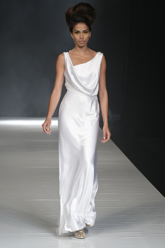 Sheath style David Fielden wedding dress with draped neckline