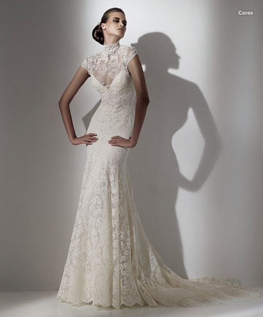 Ivory lace Elie Saab wedding dress with high neck and mermaid silhouette