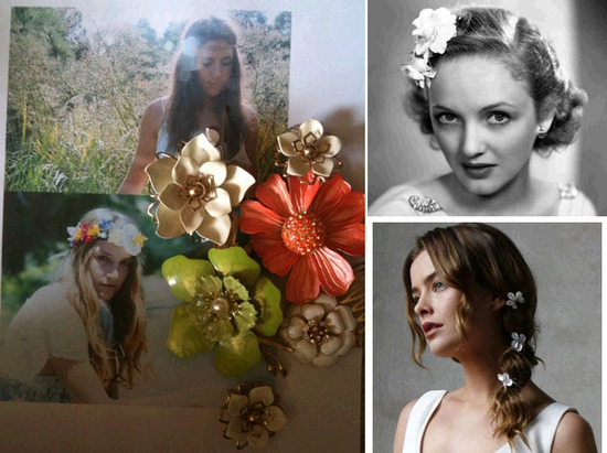 Bohemian Bride- will wear a lovely bridal hairpiece made from vintage brooches