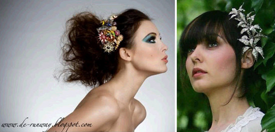 Couture fashion photo- model wears colorful vibrant hairpiece made from vintage brooches