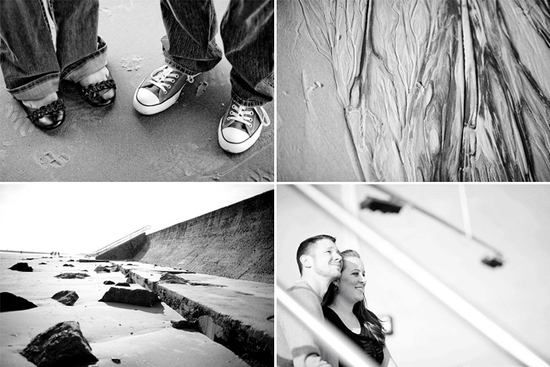 Black and white journalistic engagement session photos