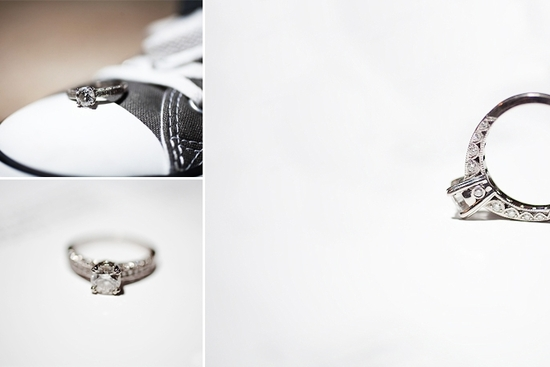 Artistic engagement session photo- closeup of diamond engagement ring and groom's shoe