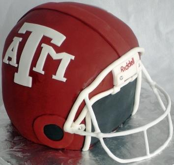 Texas A&M groom's cake shaped like an Aggie football helmet!