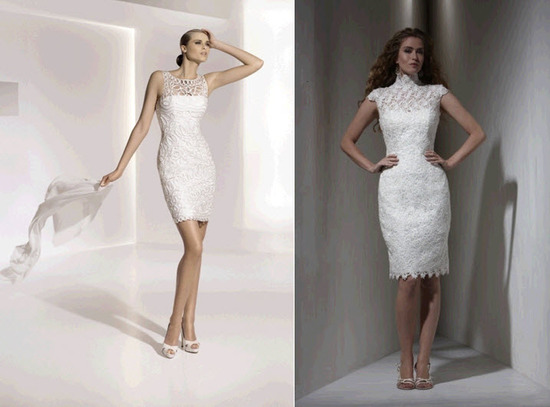 Sleek and form-fitting knee-length wedding dresses