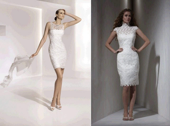 Sleek and form fitting knee length wedding dresses for Knee length fitted wedding dresses