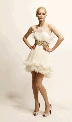 Lovely Marchesa mini wedding dress with embroidered gold waist