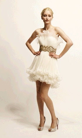 Lovely marchesa mini wedding dress with embroidered gold for Baby doll wedding dress bridal gown