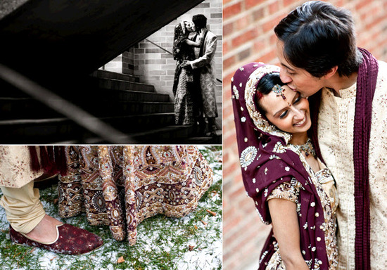 After becoming husband and wife, beautiful east Indian bride and groom pose outside together