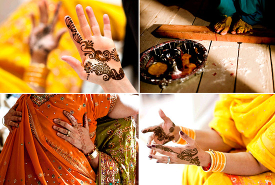 Women display wedding Henna in honor of bride and groom