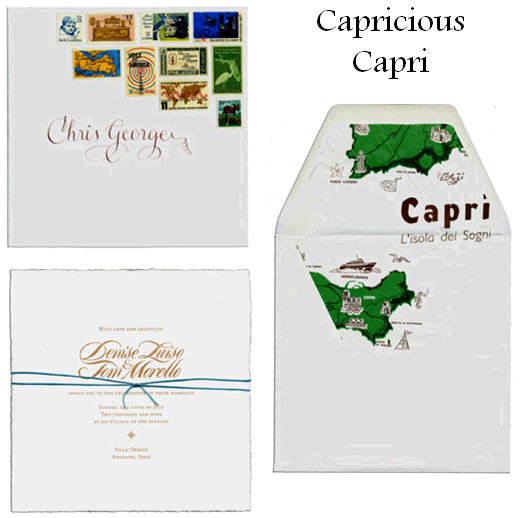 These Capricious Capri wedding invitations are perfect for a destination wedding