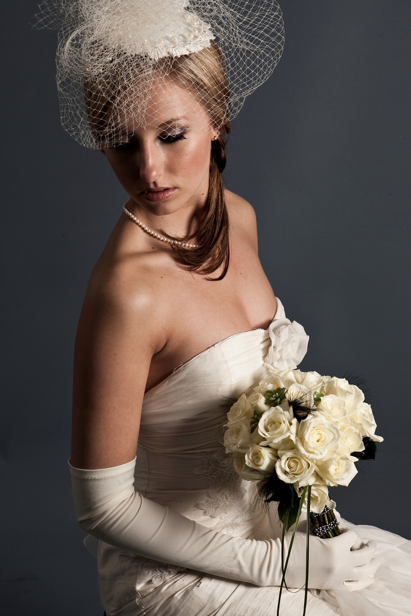 Vintage classic bridal look birdcage veil strapless for Wedding dress with long gloves