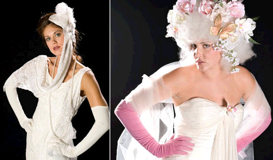 Express yourself with colored gloves to accessorize your bridal look- avant garde bridal headpiece a