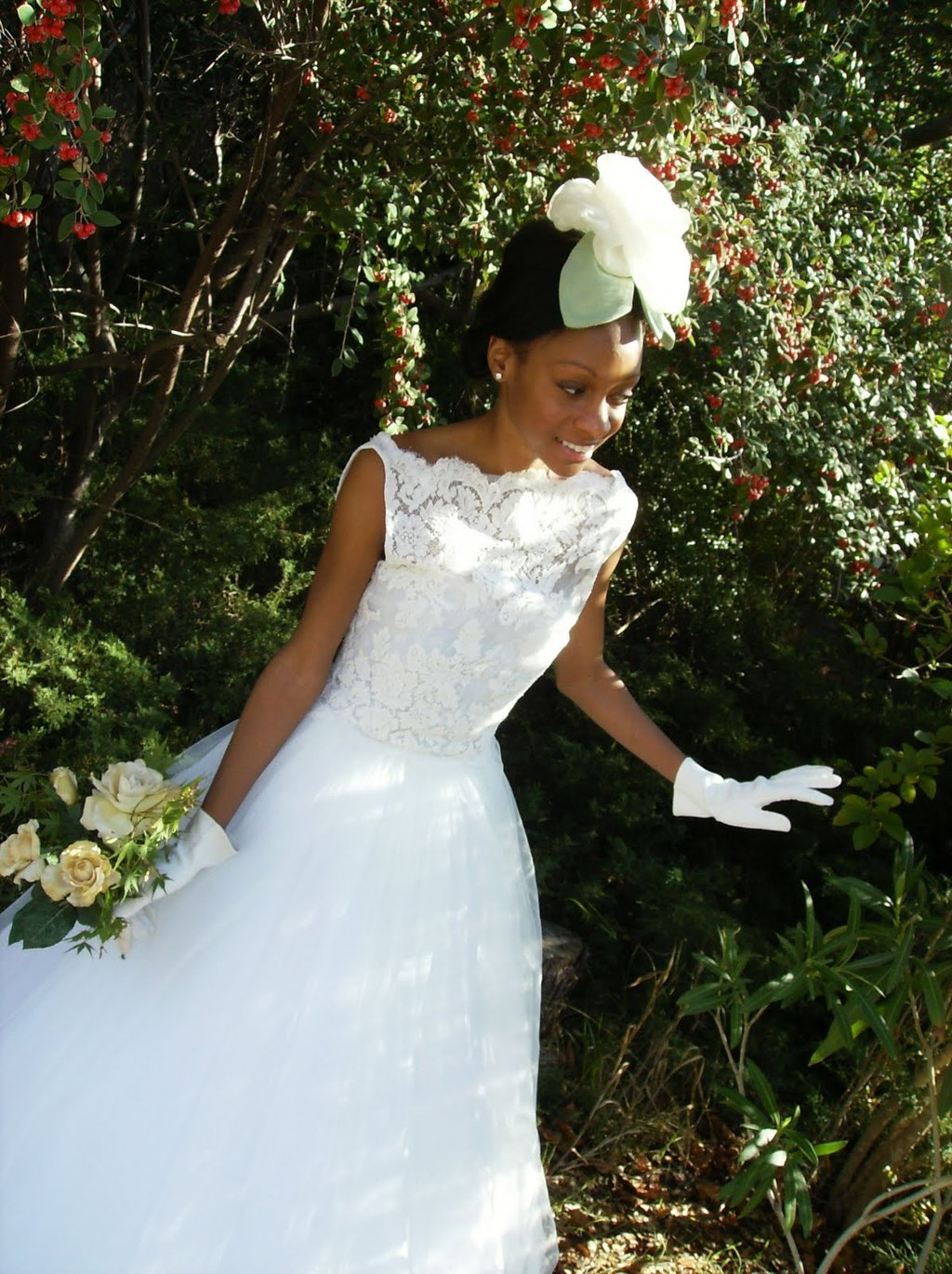 wears white lace bateau neck wedding dress, vintage bridal ...