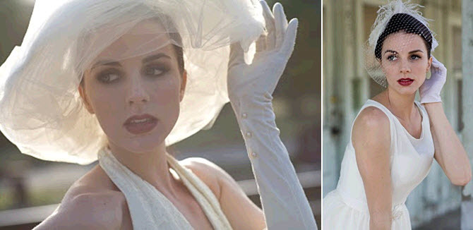 Vintage chic bride with birdcage veil, and 1940s inspired high gloves