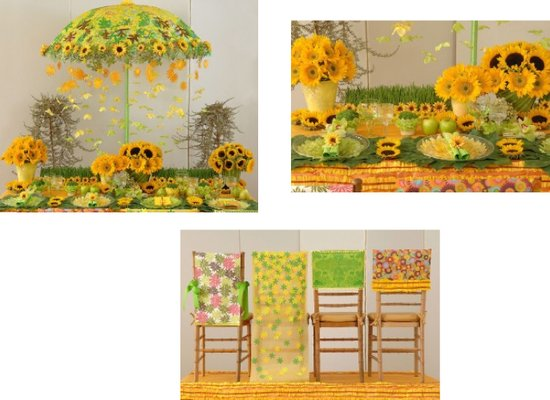 These amazing decorations are made out paper to look like real  sunflowers and chair covers.