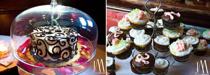 Wedding-reception-dessert-table-monogram-cake-topper-cupcake-tree-pink-orange.full
