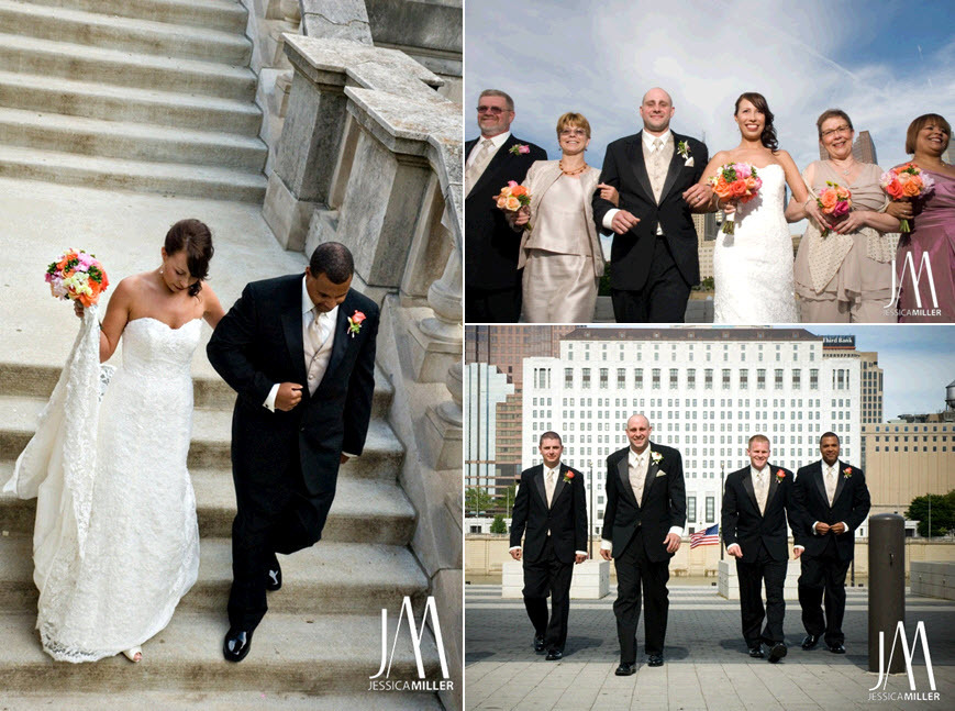 Outdoor-city-wedding-skyline-in-background-orange-peach-pink-bridal-bouquet-groomsmen-in-black-tuxedos.full