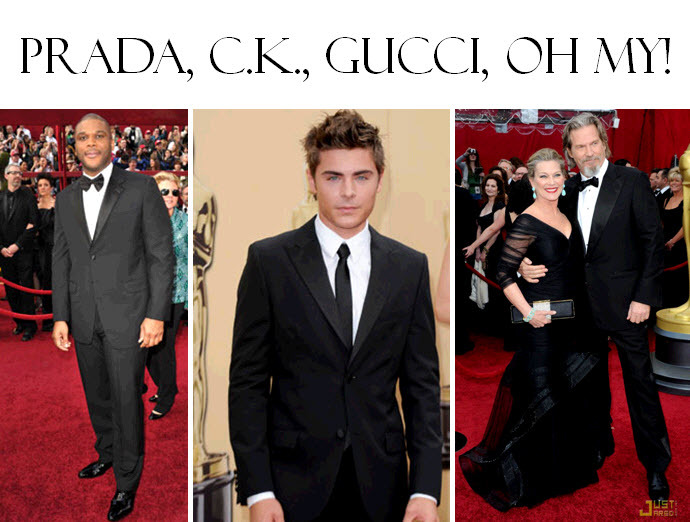 Can't go wrong with Gucci or Prada- Tyler Perry, Zac Efron, Jeff Bridges at Oscars