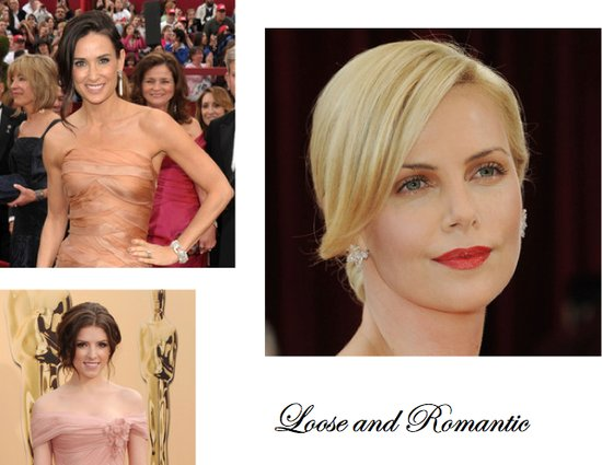 Demi Moore, Charlize Theron, and Anna Kendricks all wear loose updos to the 2010 Oscars. This is a g