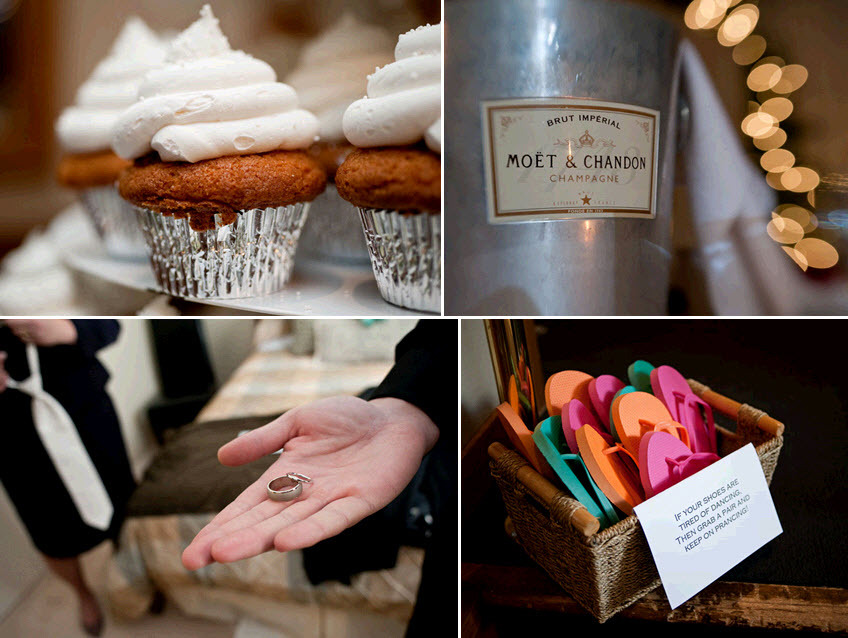 New-years-eve-wedding-details-carrot-cake-cupcakes-for-wedding-guests-moet-chandon-champagne-flip-flops-to-dance-night-away.full