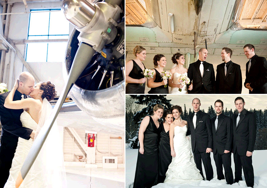Bridal-party-groomsmen-in-black-tuxedos-with-fighter-jet-behind-black-v-neck-bridesmaid-dresses.full
