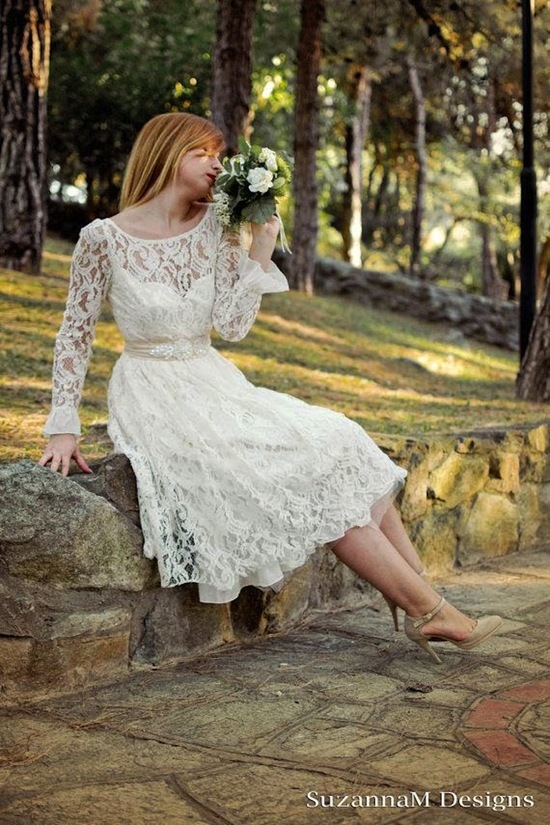 Lace Dress with Bouquet