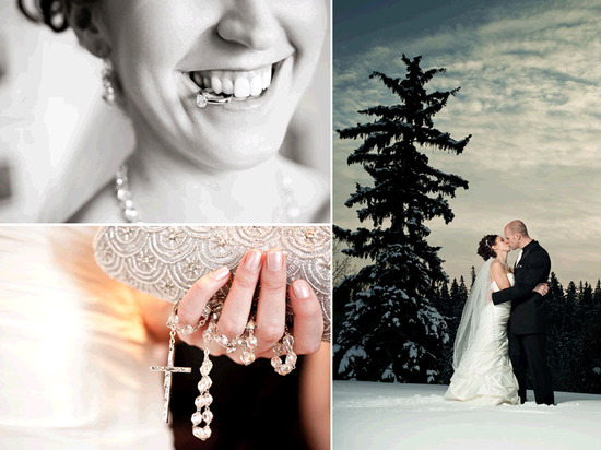 Bride, in white strapless wedding dress, kisses groom amidst snow covered ground and trees