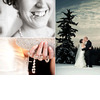 Bride-holds-diamond-engagement-ring-in-teeth-holds-crystal-rosary-bride-groom-kiss-outside-snow-covered-ground-trees-romantic.square