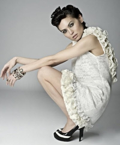 Flirty and modern, ivory silk chiffon and lace backless dress