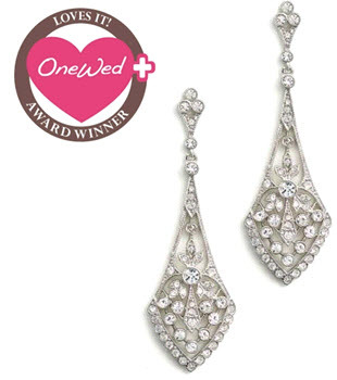 photo of Beautiful CZ chandelier bridal earrings- win by commenting on a Savvy Scoop blog post this week!