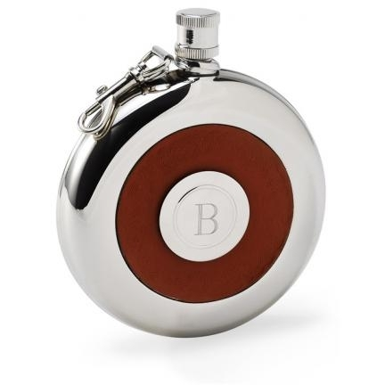 Stylish silver and leather Oxford flask, that doubles as a shot glass!