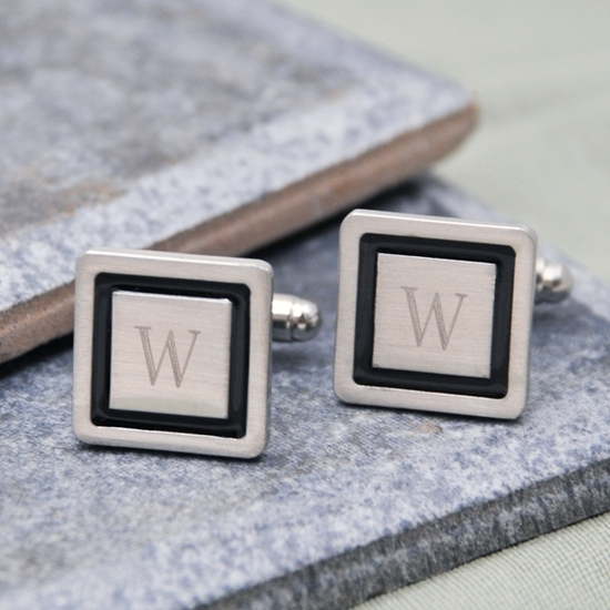 Stylish square designer cuff links with black border