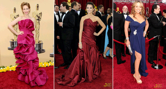 Jewel tones and berry tones graced the red carpet, including Penelope Cruz and Mariah Carey