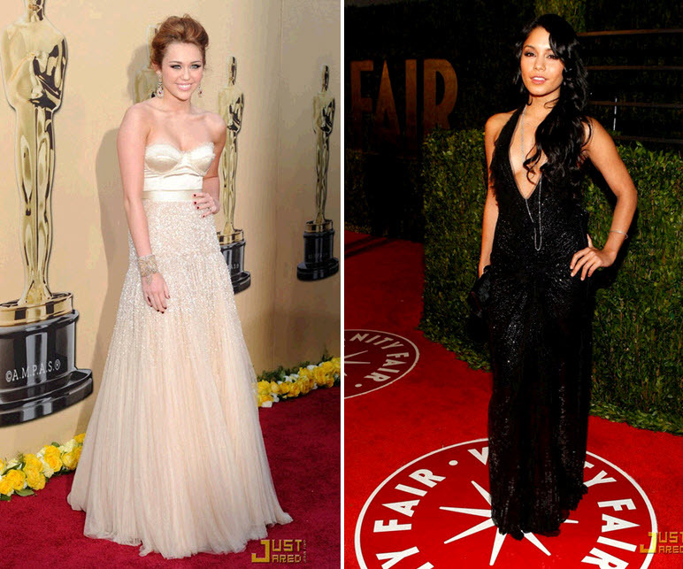Miley Cyrus and Vanessa Hudgens wore beaded Jenny Packham dresses to the Oscars
