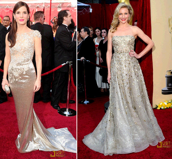 Gilded Goddesses: Sandra Bullock and Cameron Diaz wore gold beaded dresses