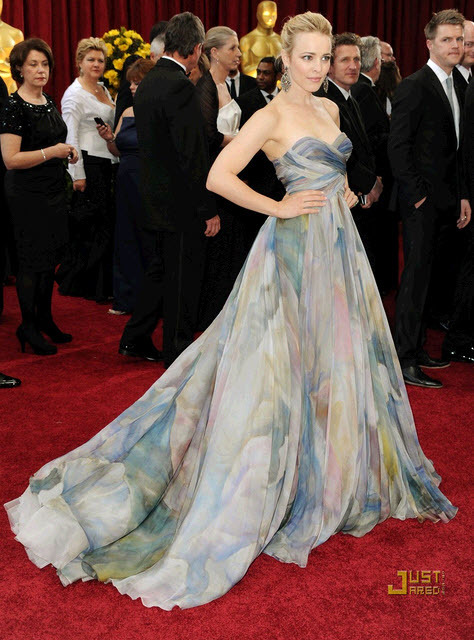 Rachel McAdams was stunning in Elie Saab Haute Couture sweetheart multi-color ball gown