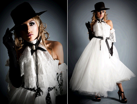 For an edgy bridal look- incorporate black accents to the classic white wedding dress