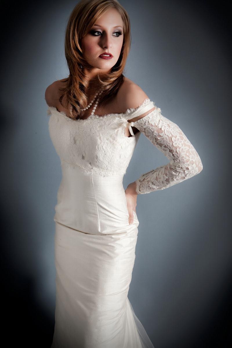 Classic and modern bridal look off the shoulder neckline for Off shoulder sleeve wedding dress